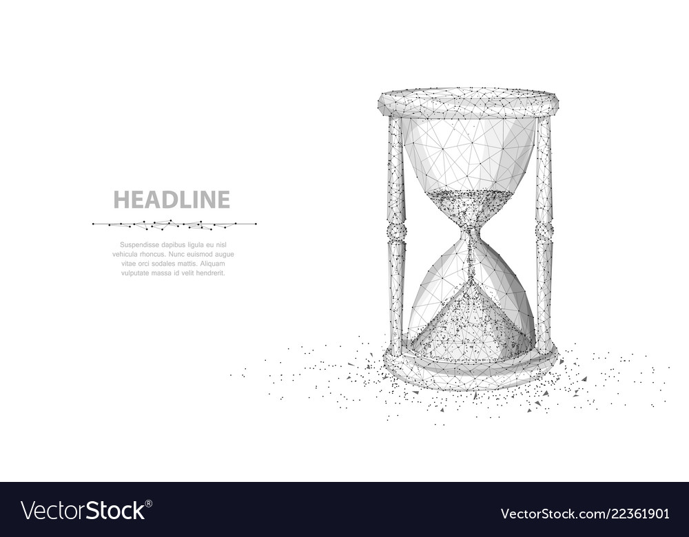Sandglass abstract 3d wireframe lock isolated on