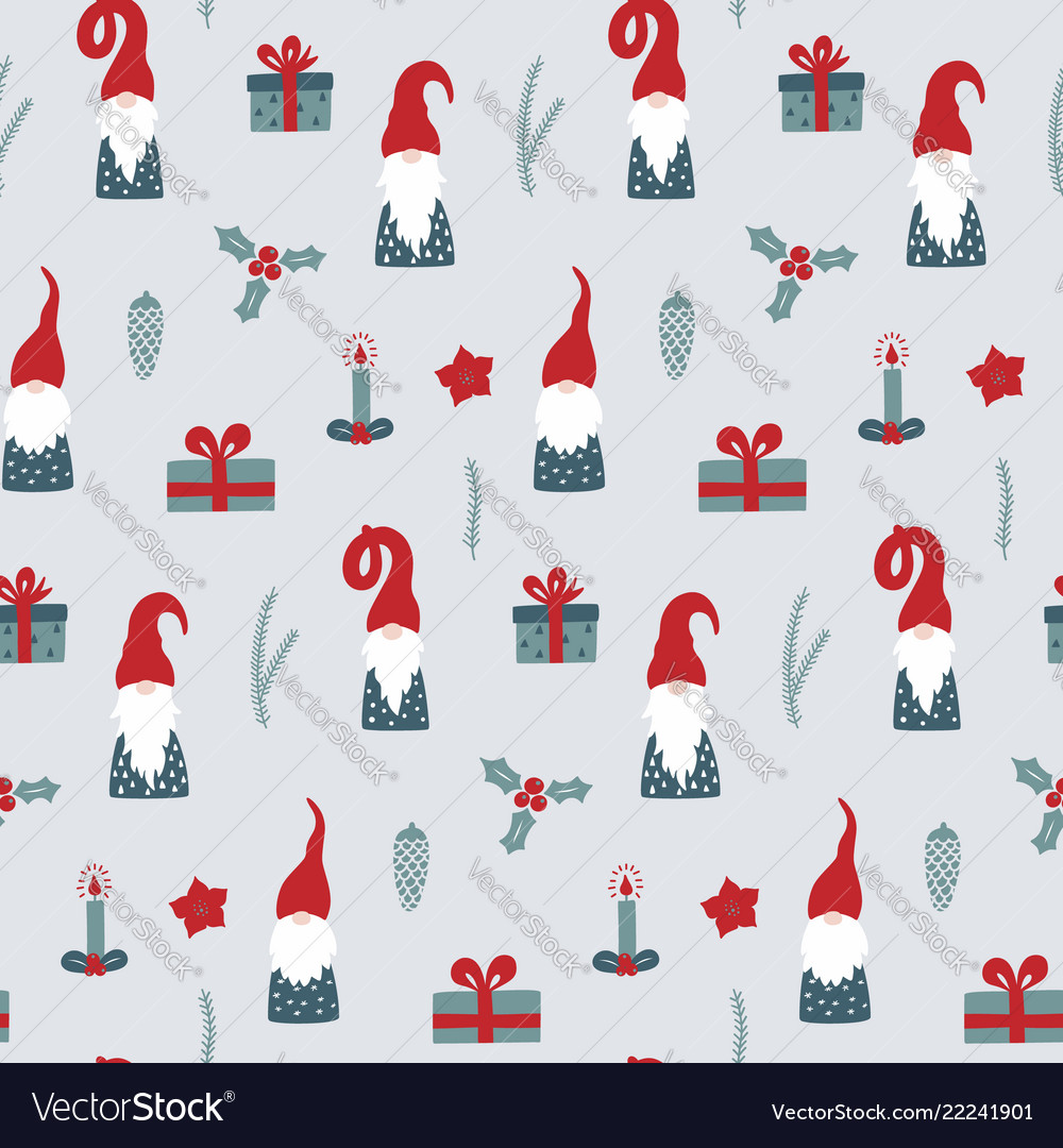 Seamless pattern with nordic gnomes and christmas
