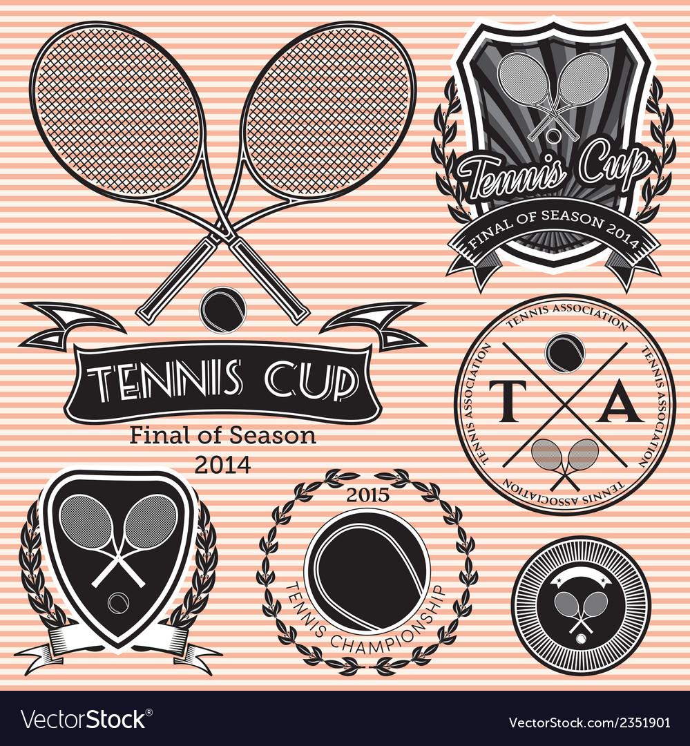 Set of emblems on big tennis
