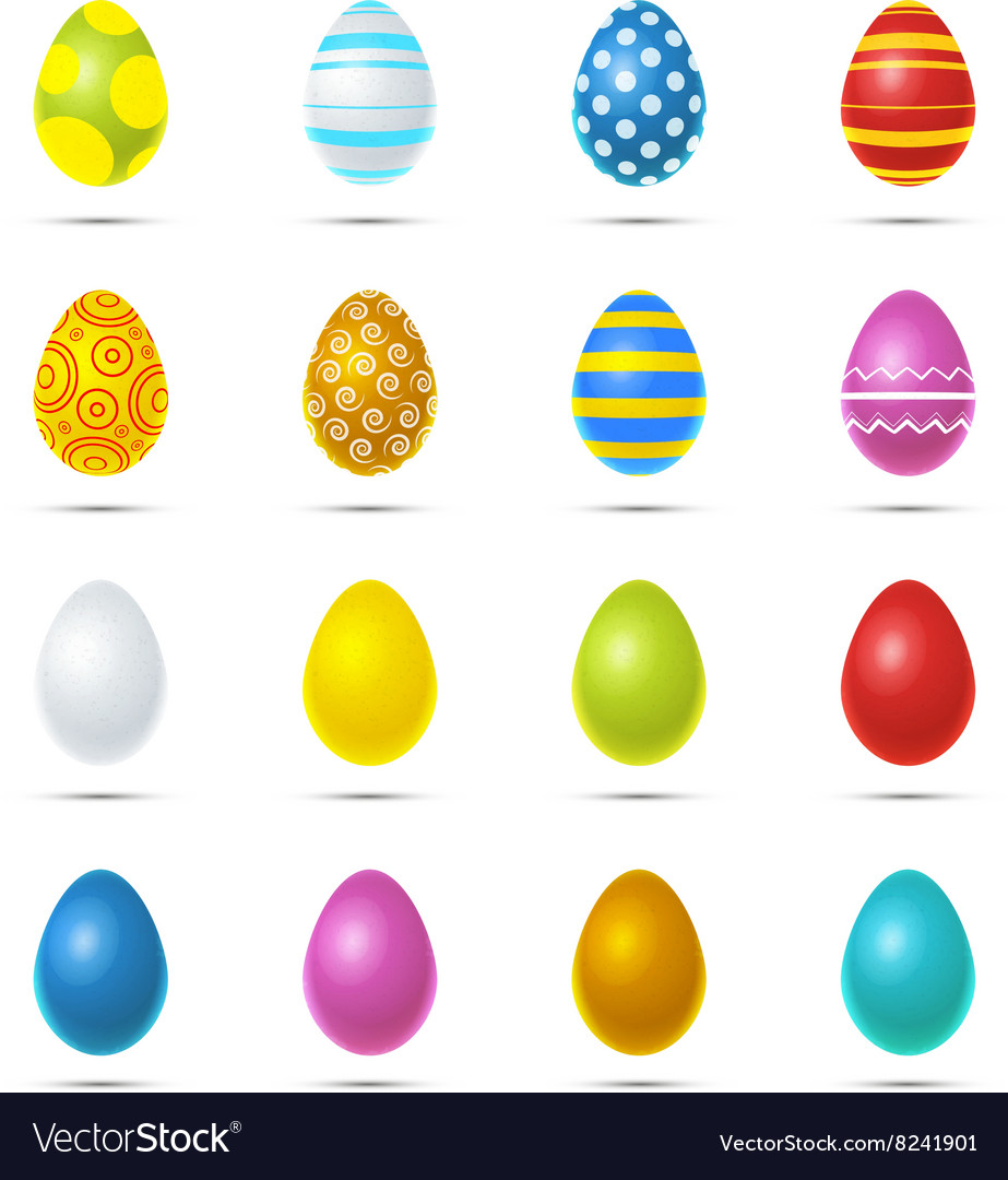 Set of sixteen bright colourful easter eggs on