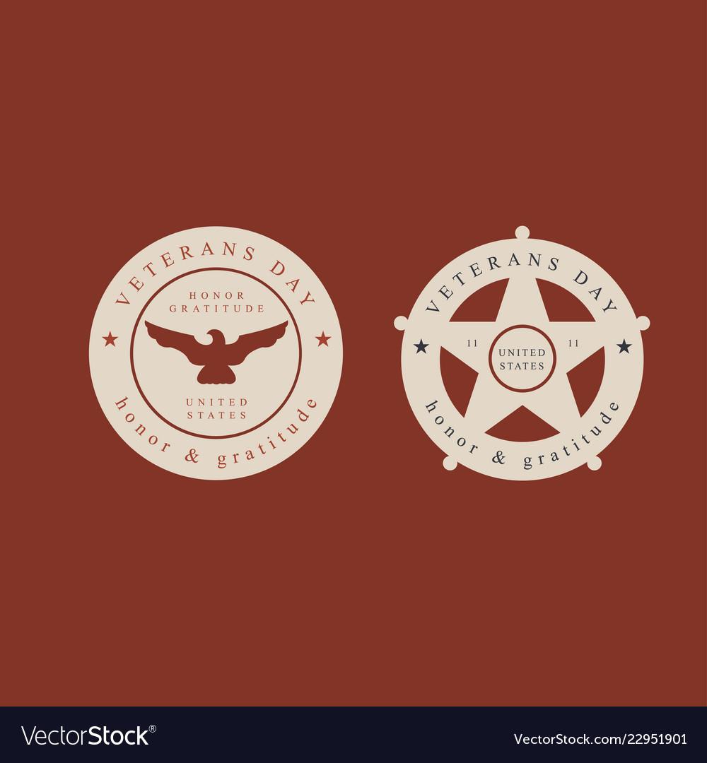 Set of veterans day labelsstamps and design
