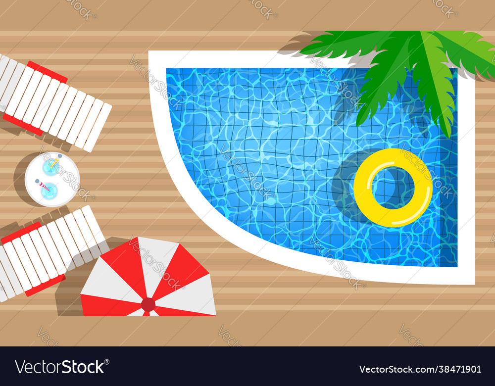 Swimming pool with rings umbrella