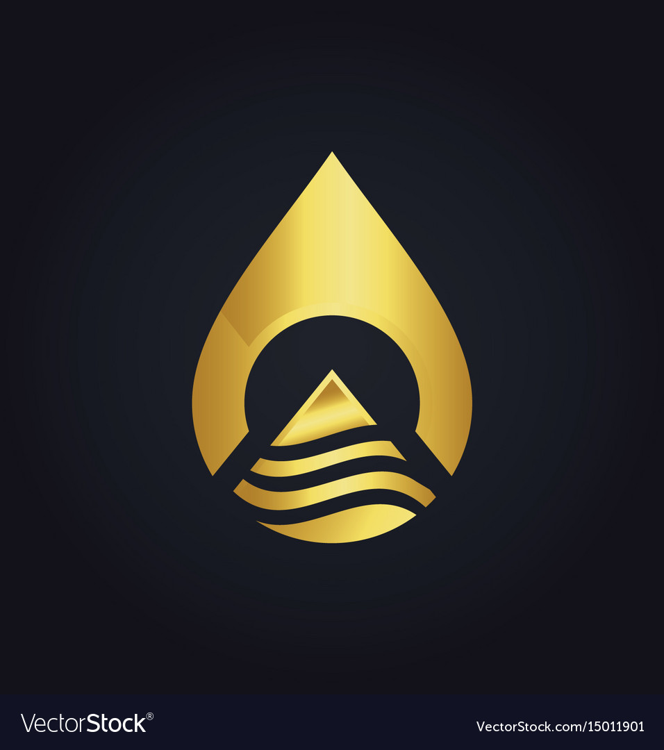 Water drop technology abstract gold logo