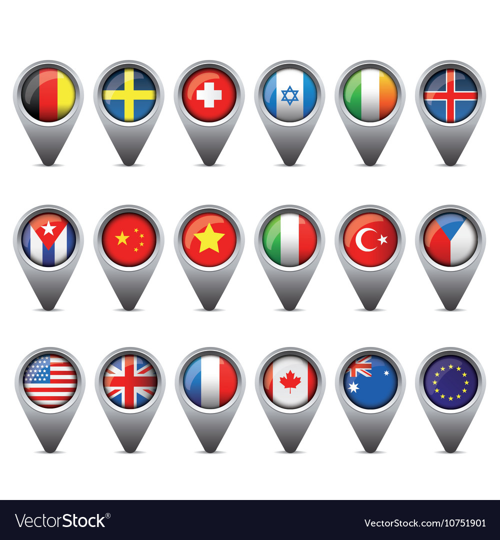 World flags pointer set
