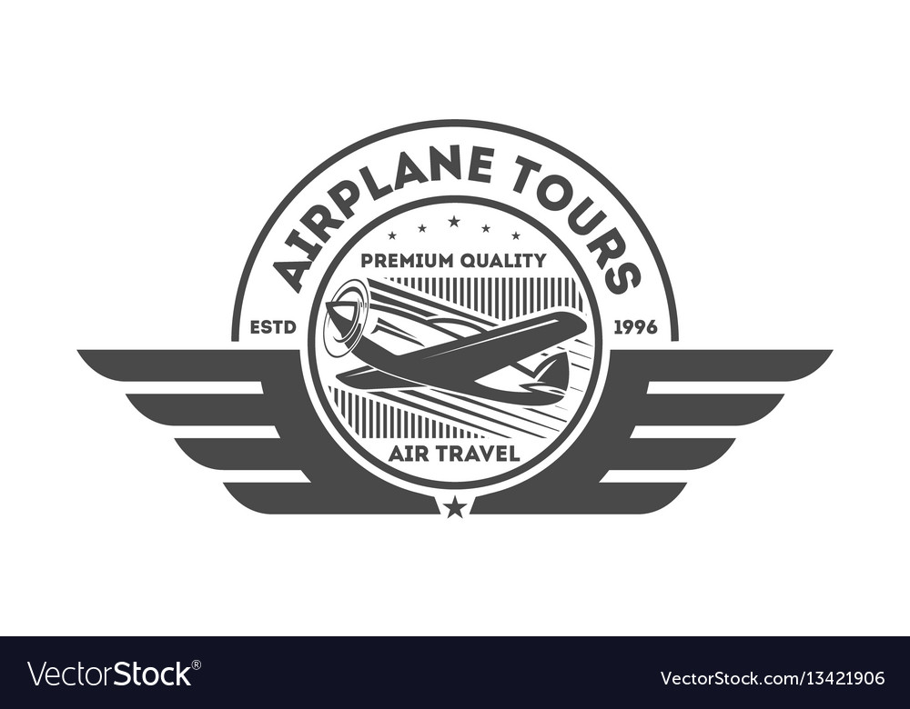 Airplane vintage isolated label vector image