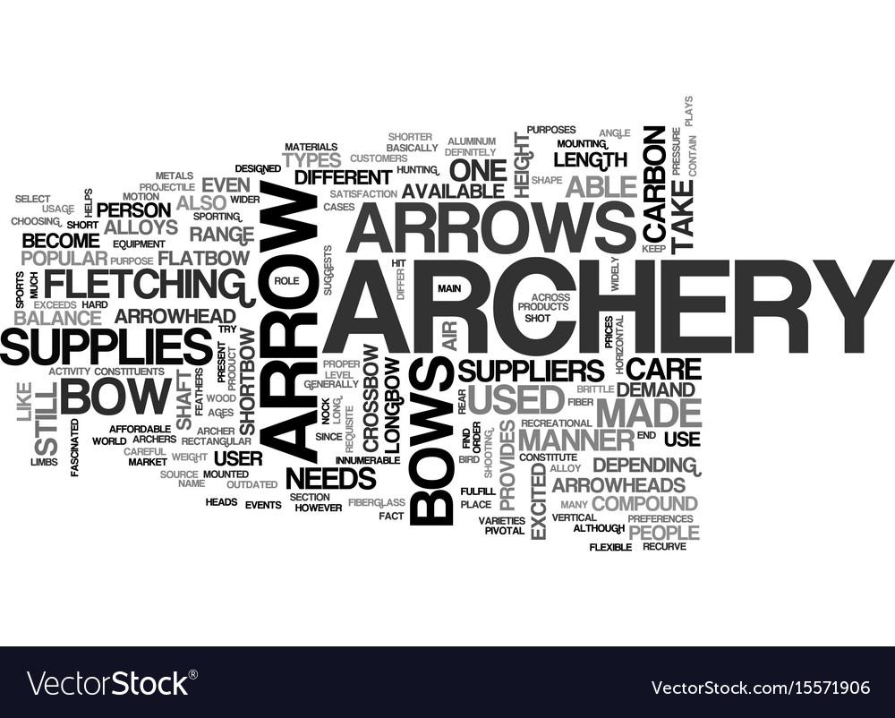 Archery supplies text word cloud concept