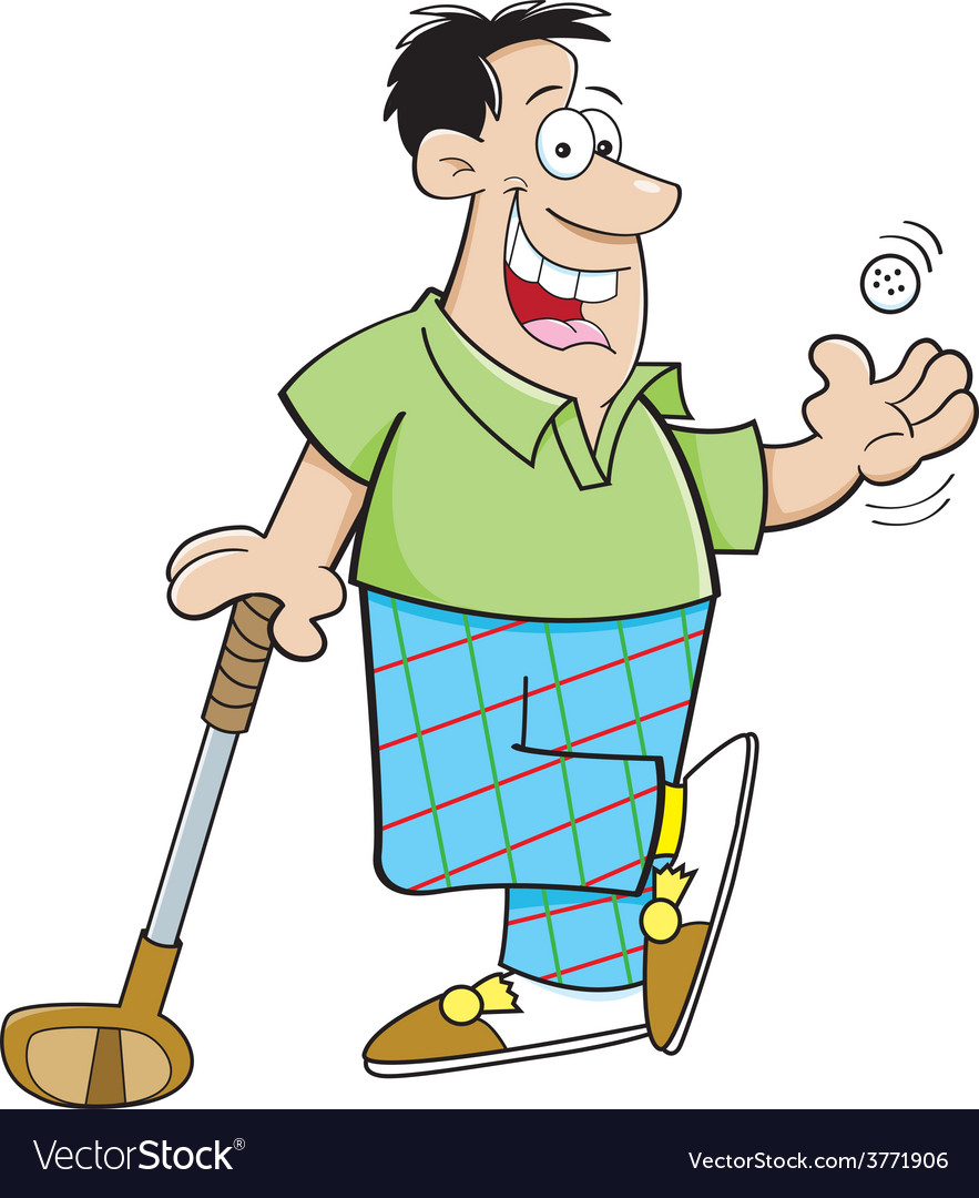 Cartoon man leaning on a golf club vector image on VectorStock on cartoon golf club clip art, cartoon golf club swing, the step to draw a cartoon golf club, cartoon man golf club,