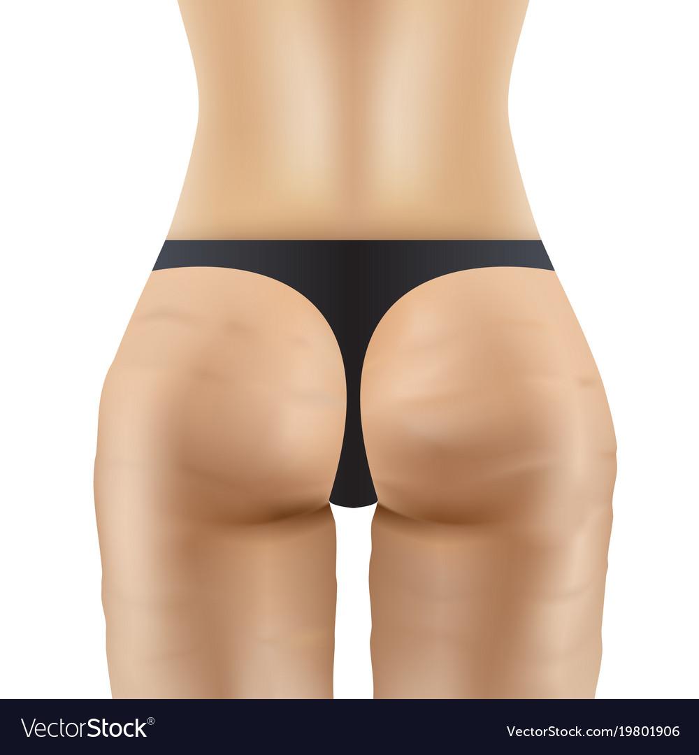 cellulite women ass in black panties royalty free vector