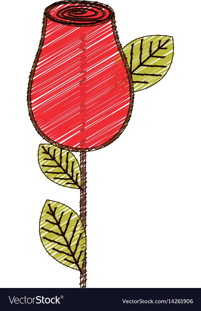 Color pencil drawing of red rosebud with leaves