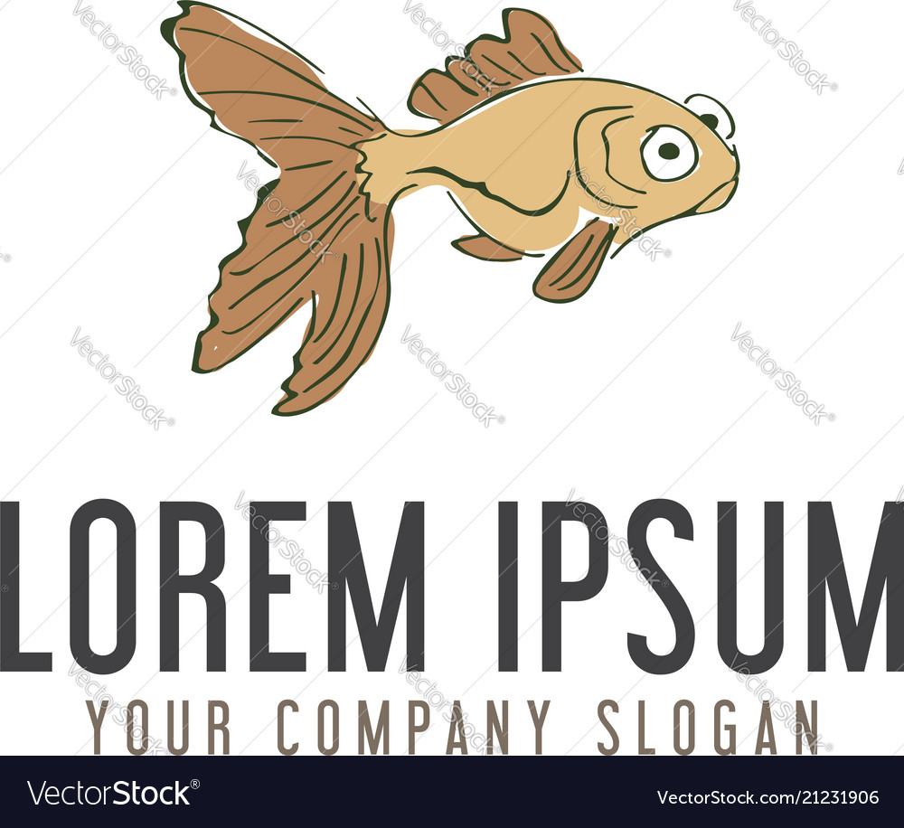 Funny fish hand drawn logo design concept template