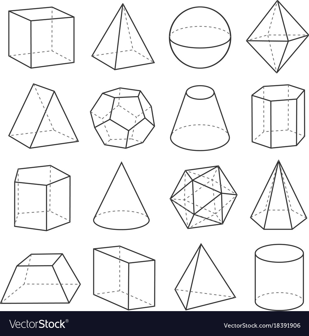 Geometric shapes outline set Royalty Free Vector Image
