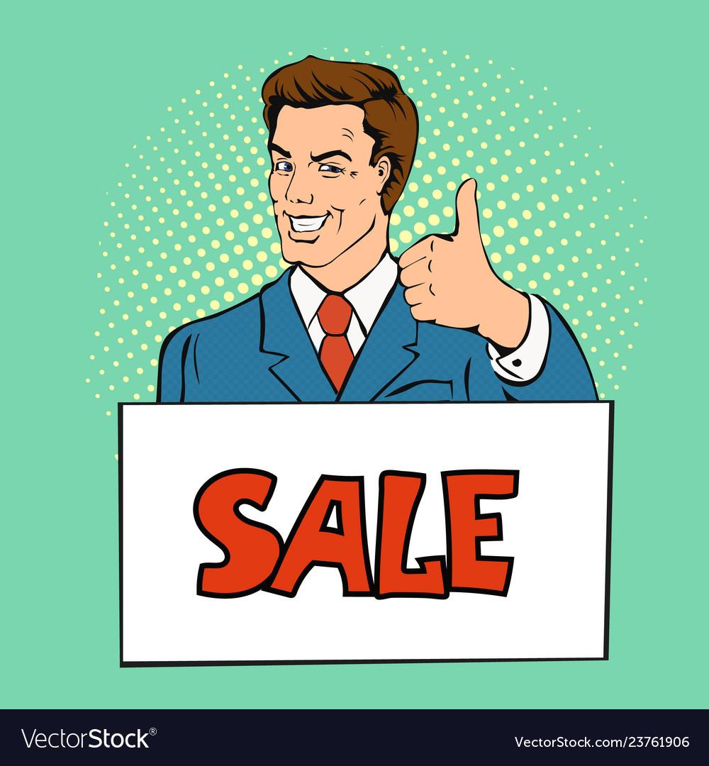 Happy businessman man shows thumb up