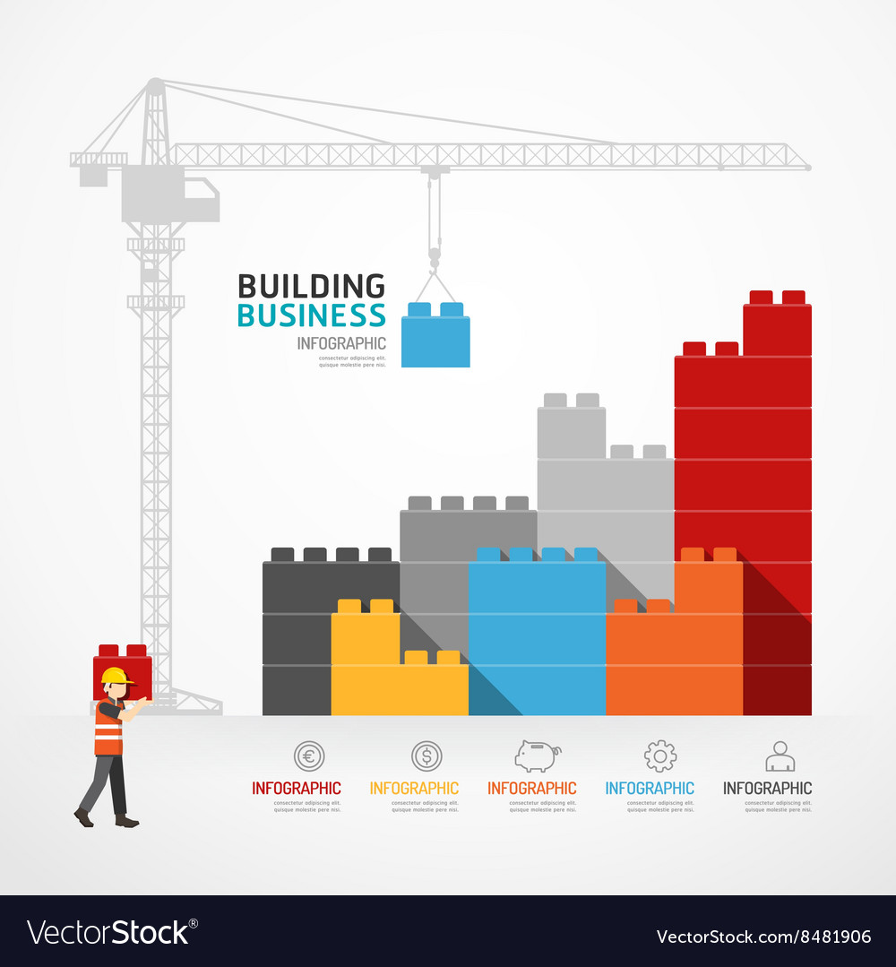 Infographic Template with crane building blocks Vector Image