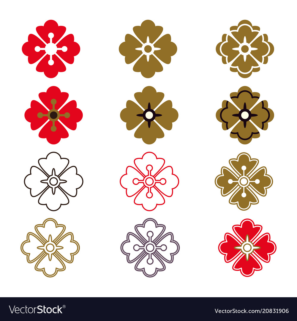 Japanese pattern elements vector image
