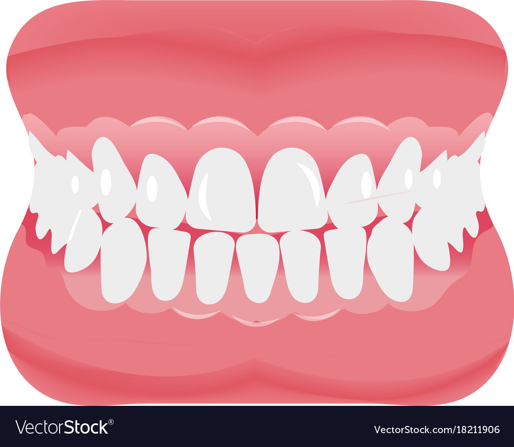 Jaw with teeth icon flat style open mouth