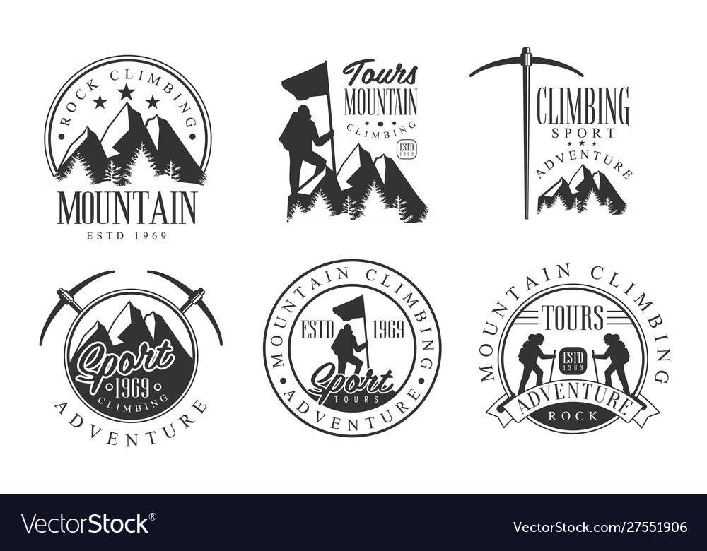 Mountain rock climbing retro logo set rock sport