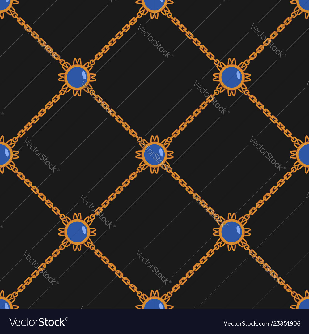 Seamless pattern with chains and pendant fashion
