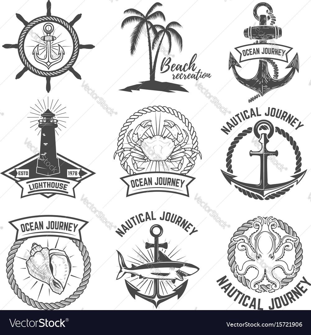 Set nautical emblems isolated on white