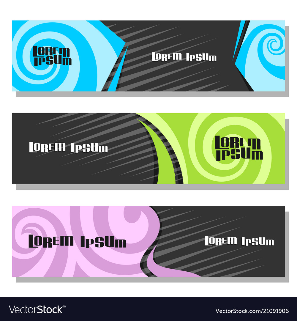 Set of horizontal futuristic banners