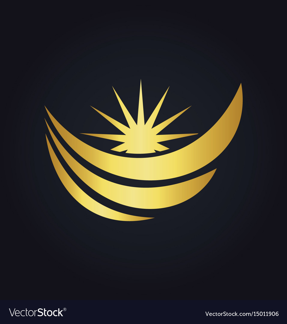 Water wave loop sun abstract gold logo
