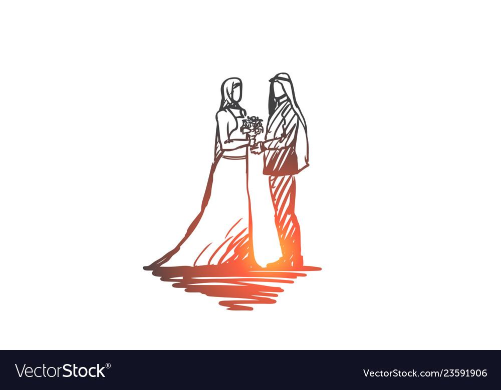 Wedding groom bride couple muslim concept