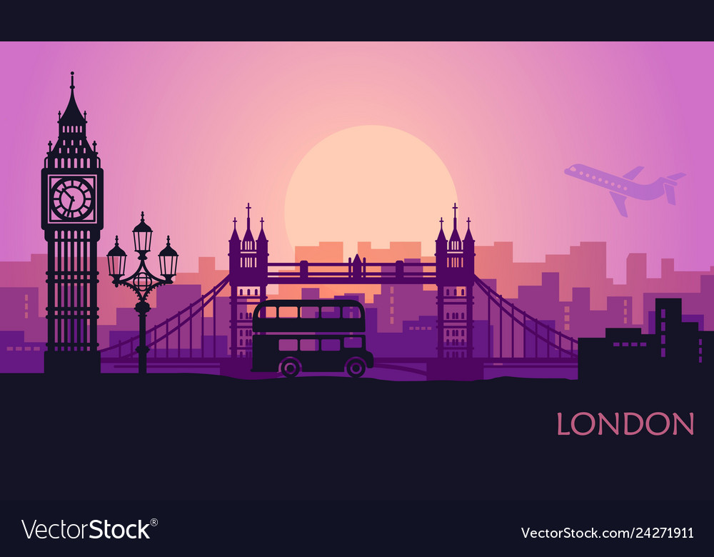 Abstract cityscape london with sights at