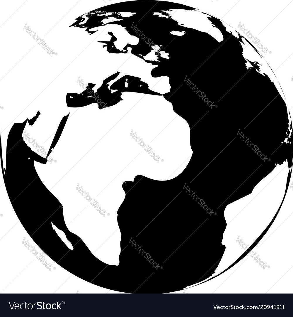 Great Black And White Globe Vector Image