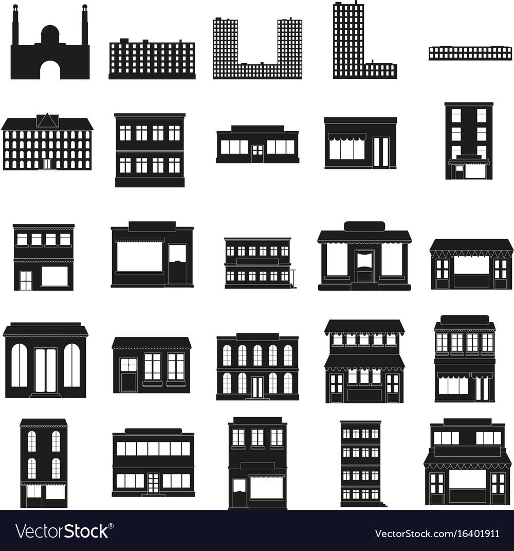 Black buildings web icons set vector image