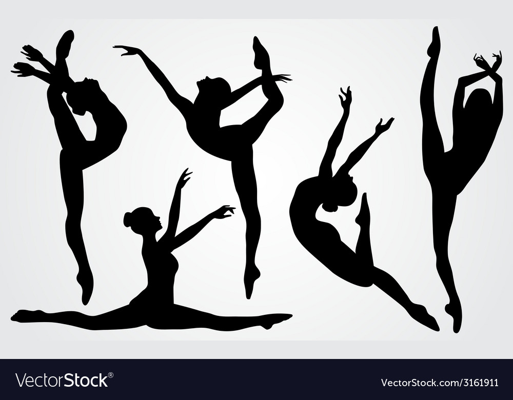 Black silhouettes of a ballerina vector image