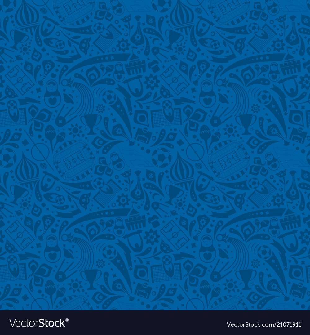 Blue soccer championship seamless trendy pattern vector image