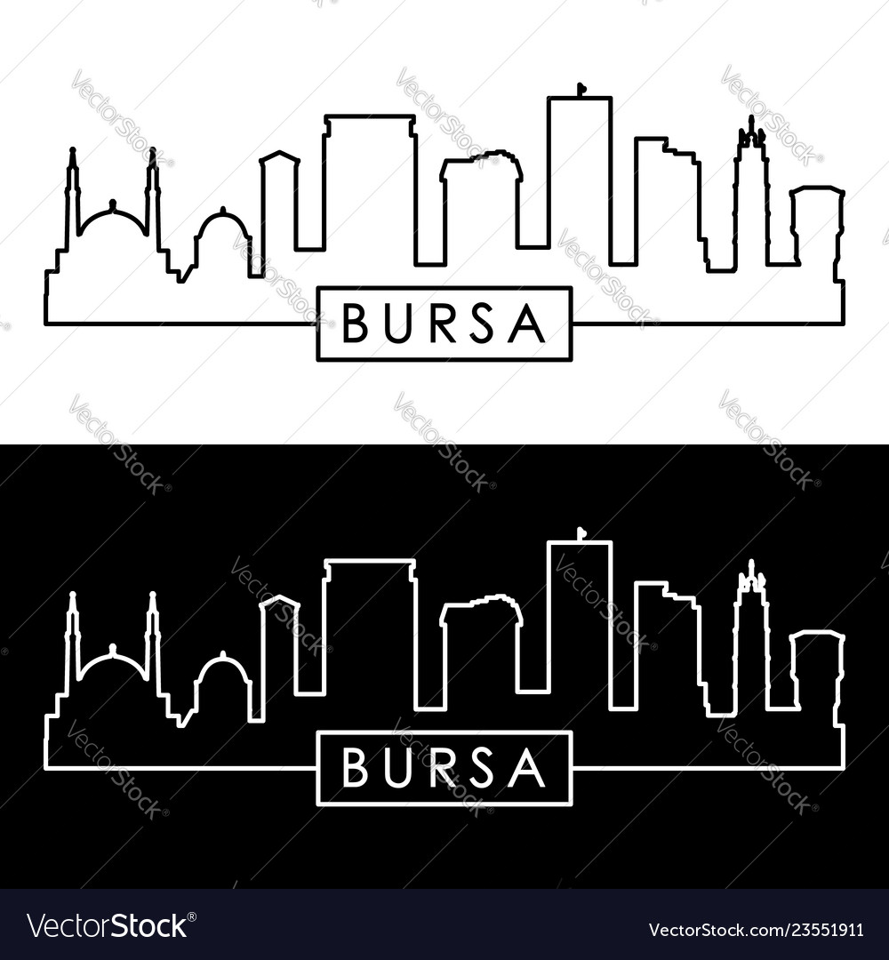 Bursa skyline linear style editable file