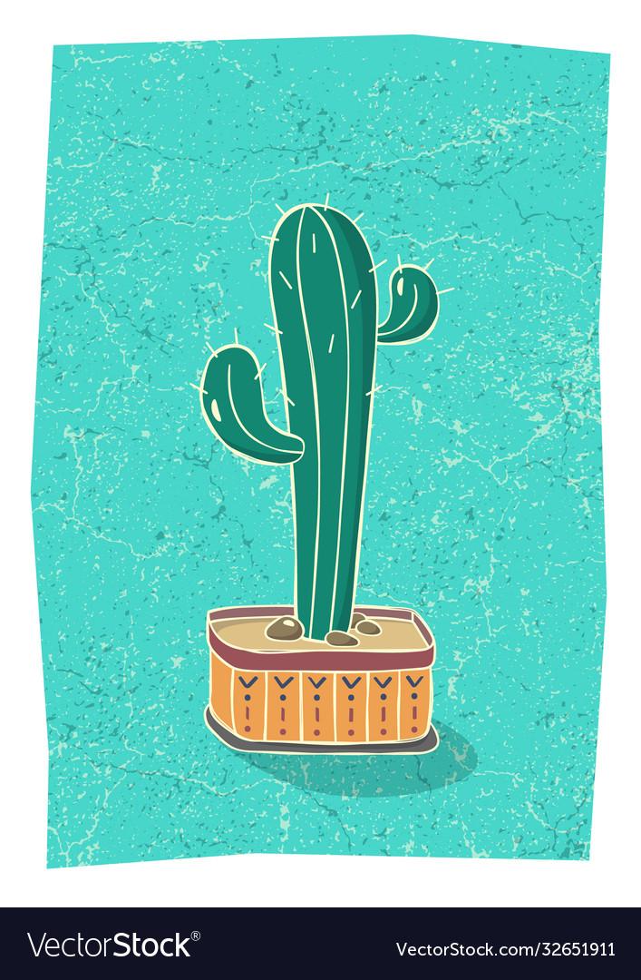 Cactus in hand drawn flower pot