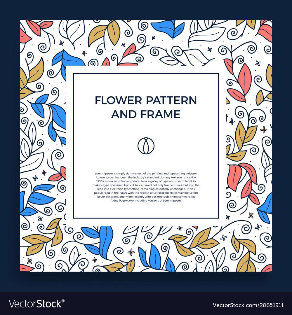 Colorful hand drawn floristic frame border
