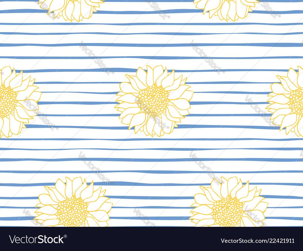Floral Seamless Pattern Marine Stripe Wallpaper Vector Image
