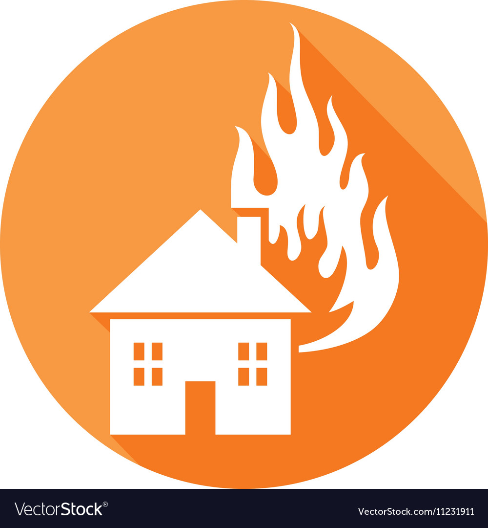 House on Fire Icon vector image