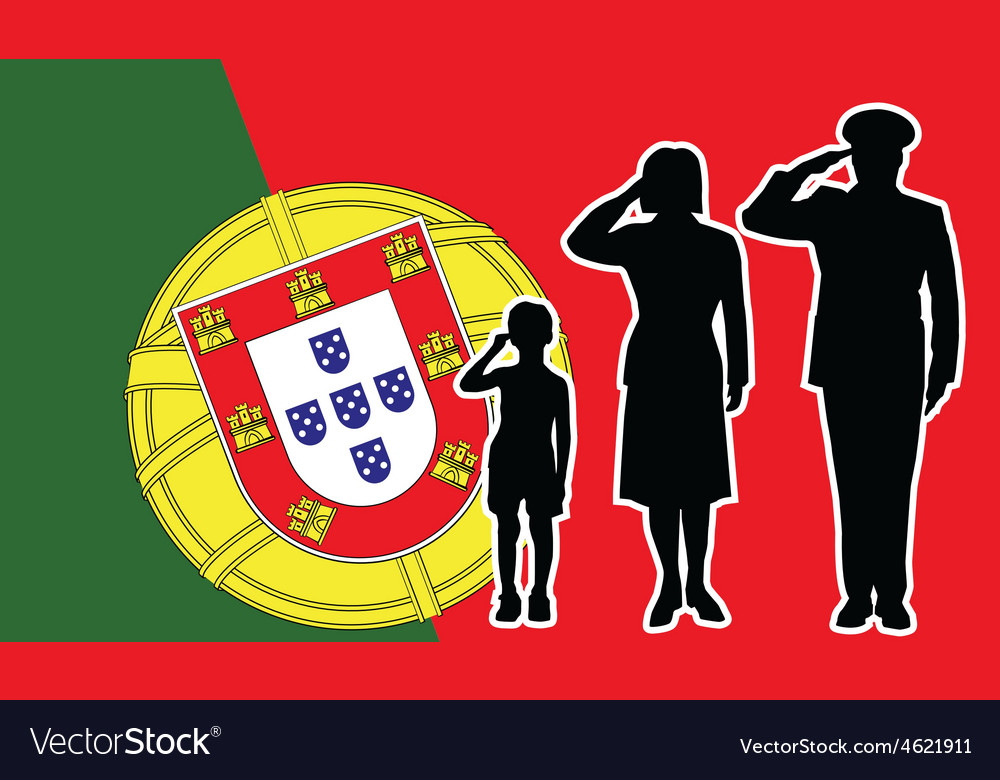 Portugal soldier family salute vector image