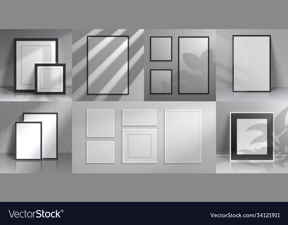 Realistic interior frames 3d mockups with shadow