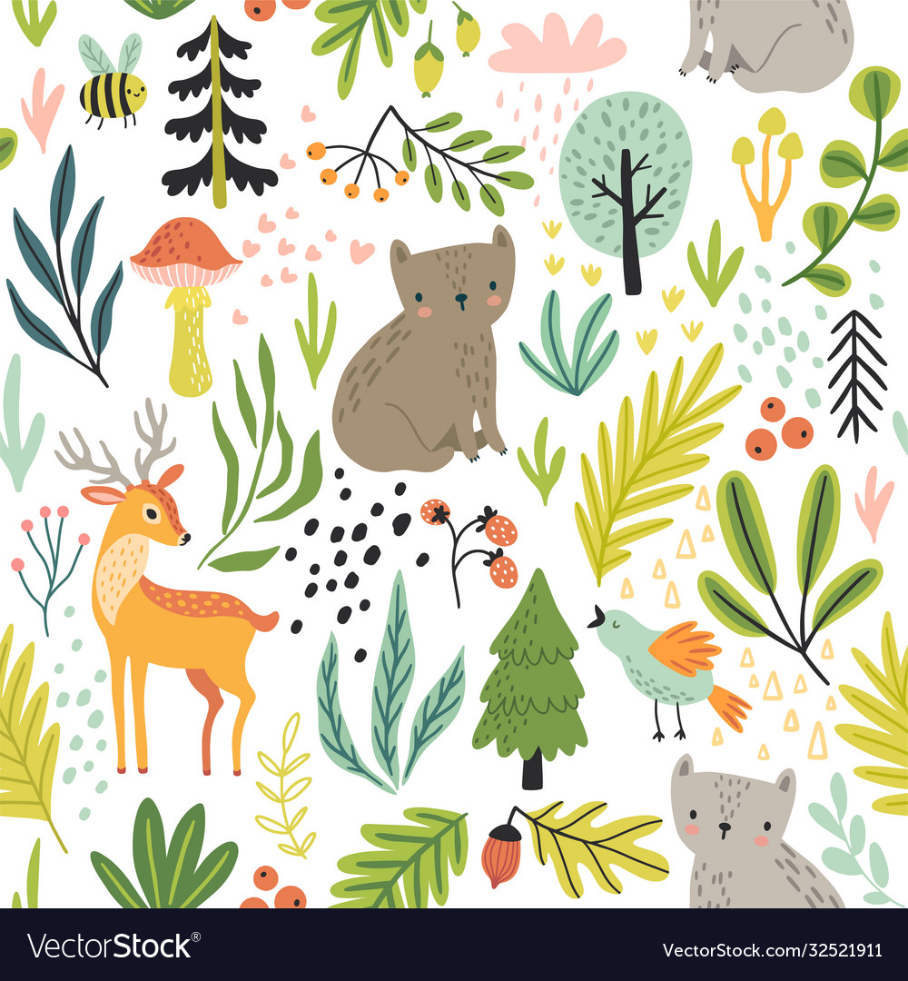 Seamless forest pattern with wild animals plants