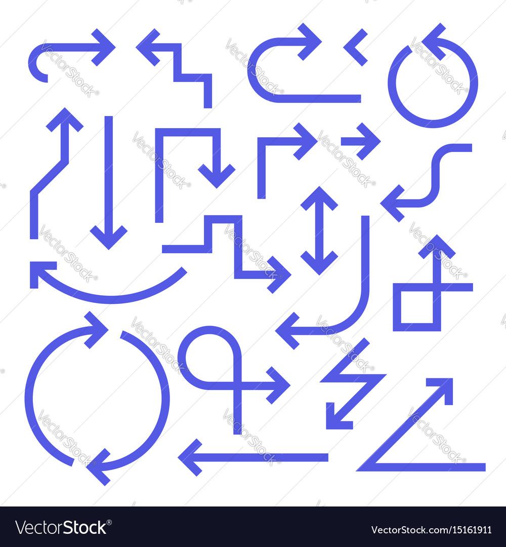 Simple arrow set blue color