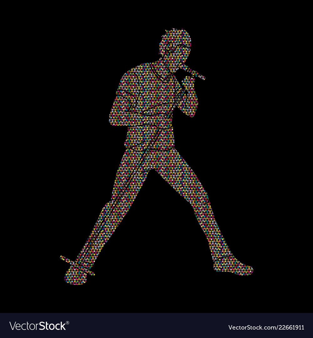 Singer sing a song music band vector image on VectorStock