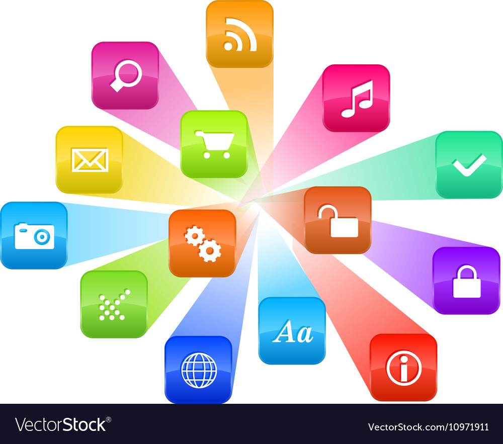 Software concept - cloud of colorful program icons