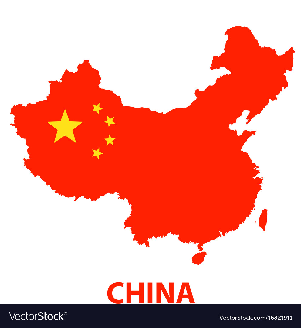 The detailed map of the china with flag