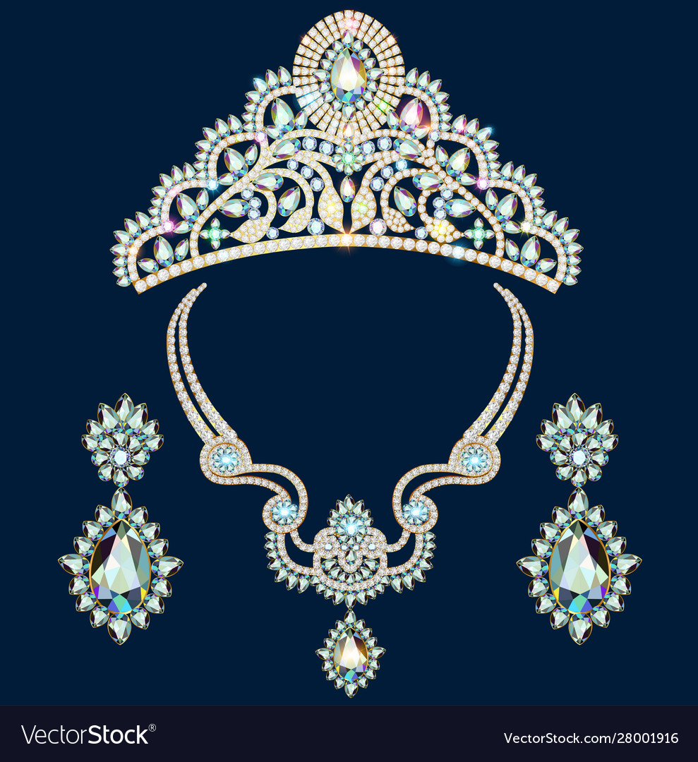 A set brilliant jewelery diadem necklace and