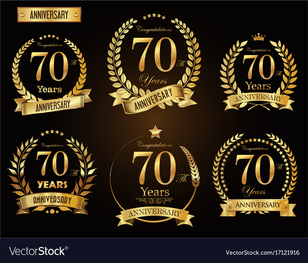 Anniversary golden laurel wreath 70 years