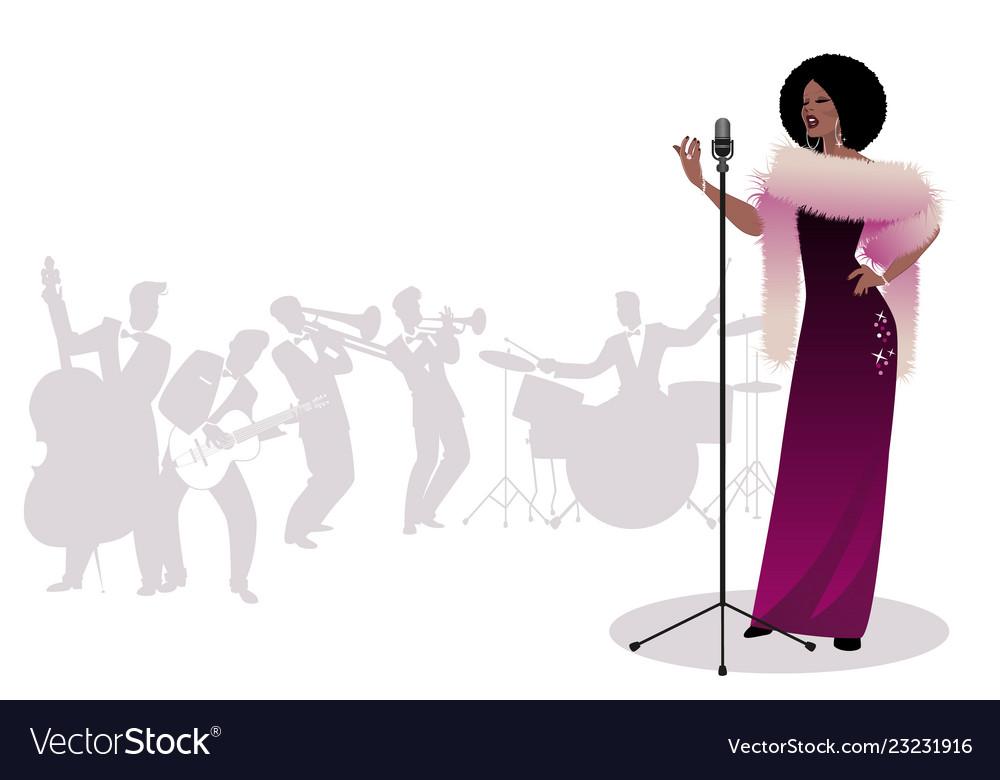Beautiful and elegant jazz singer singing solo