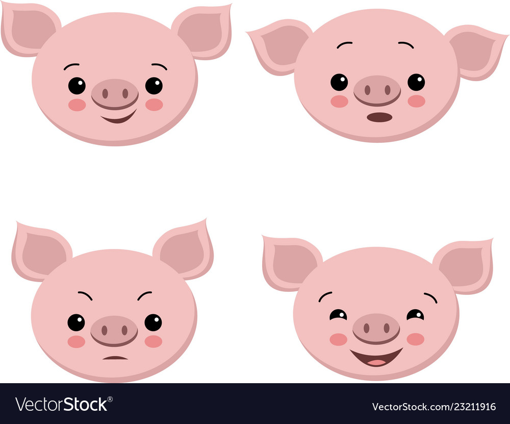 Collection of cute pigs in cartoon style set
