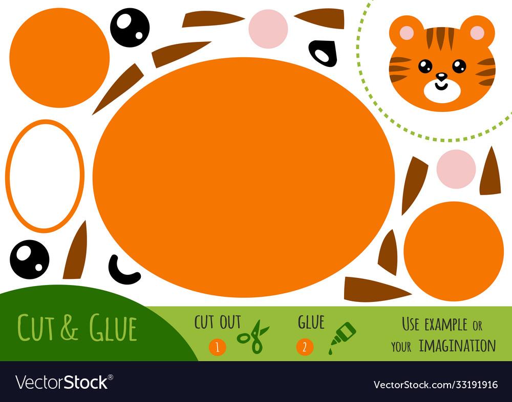 Education paper game for children tiger