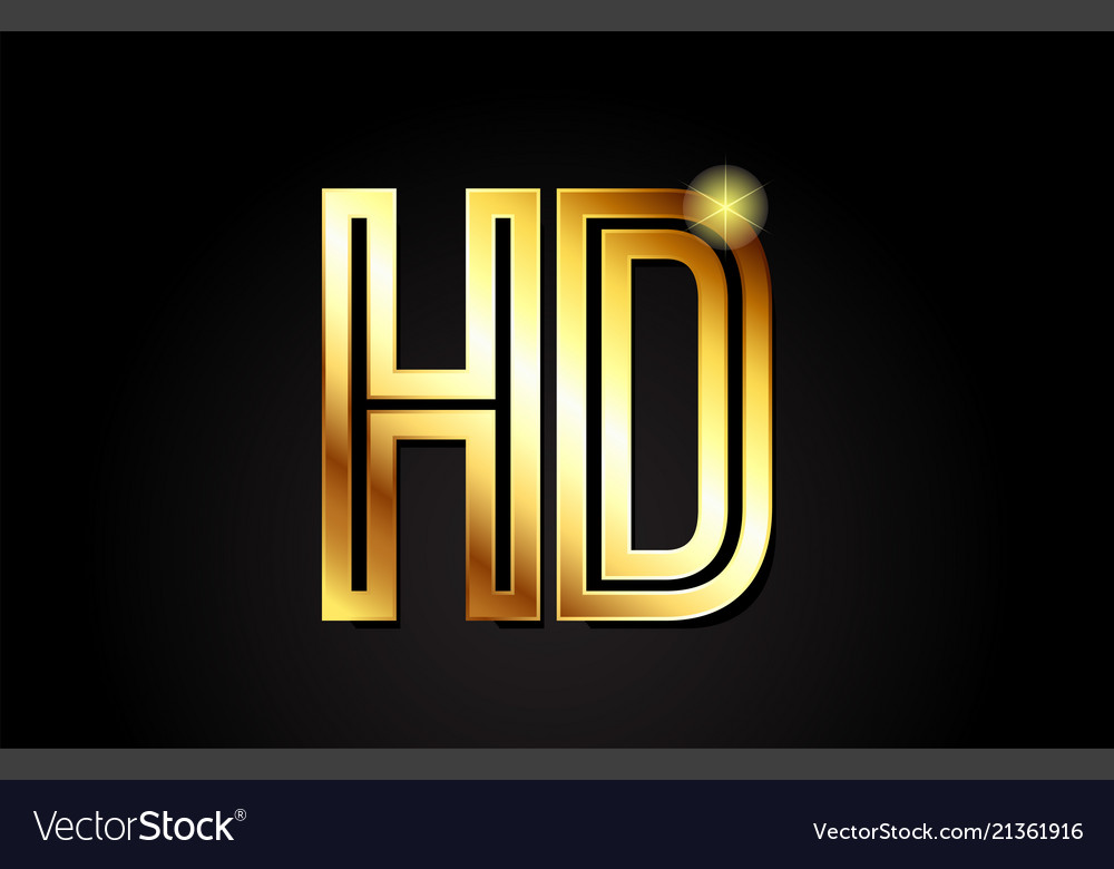 gold alphabet letter hd h d logo combination icon vector image