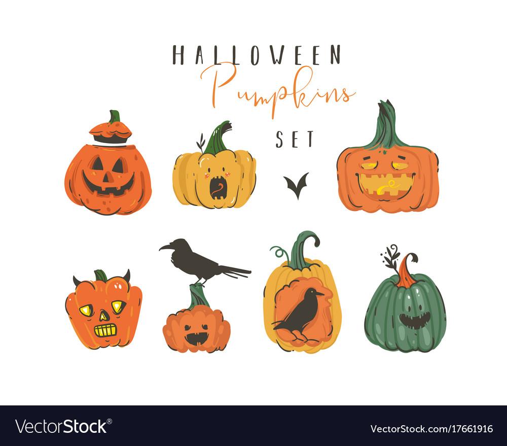 Hand drawn abstract cartoon happy halloween