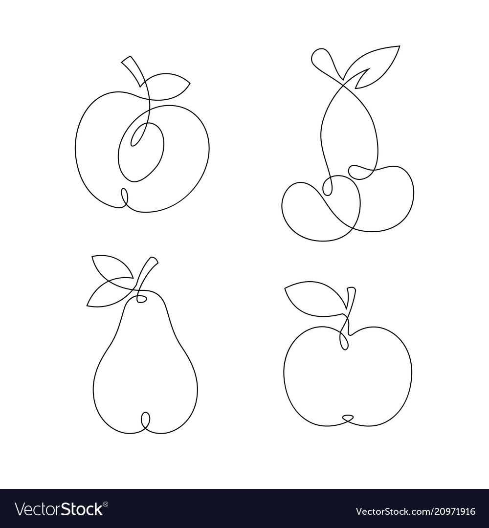 One line continuous fruits